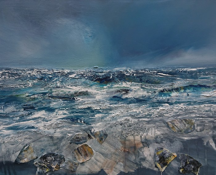 breakers, oil and collage on canvas, 50 x 70 cm