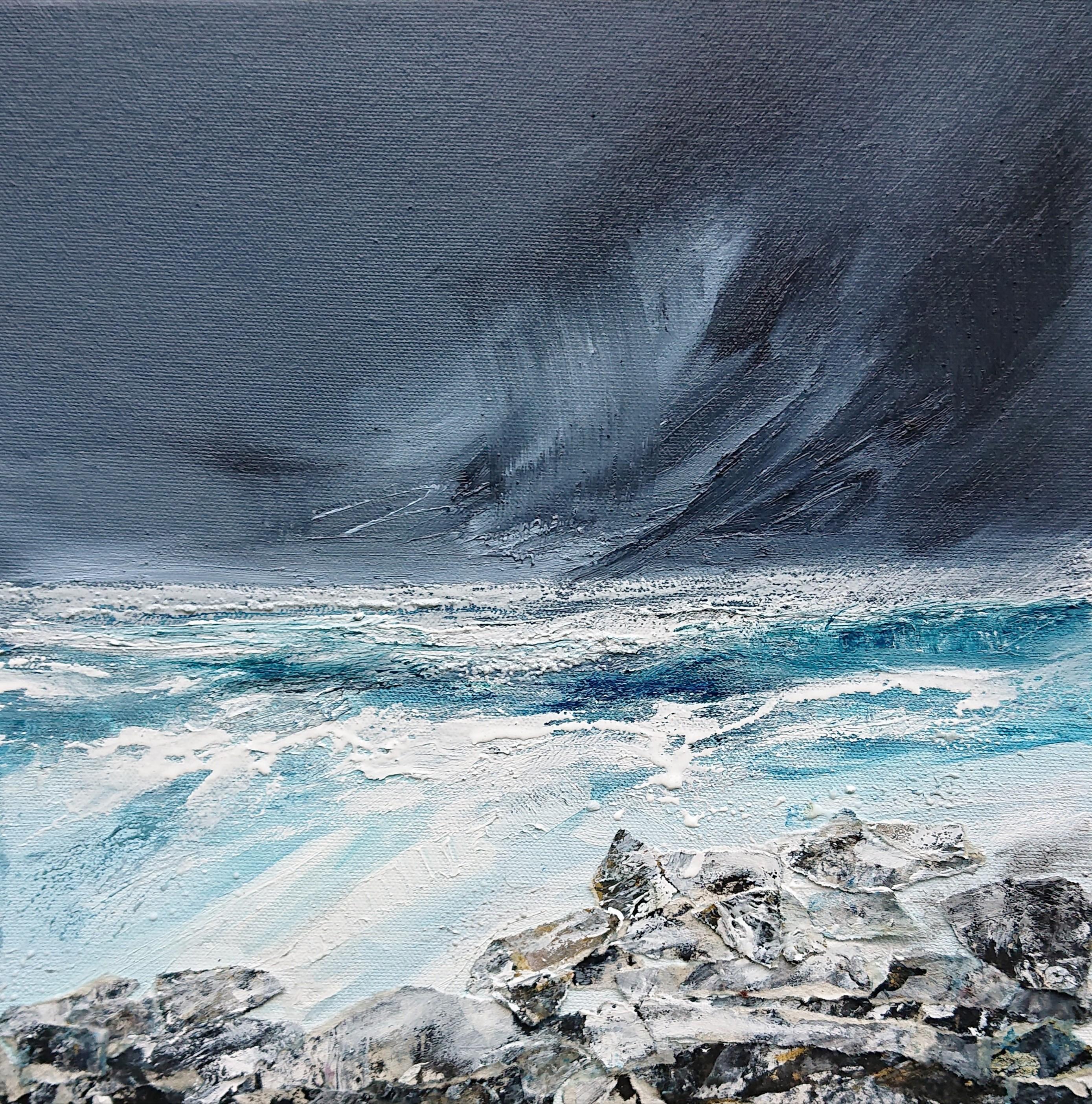 distant storm, oil on canvas 30 x 30 cm