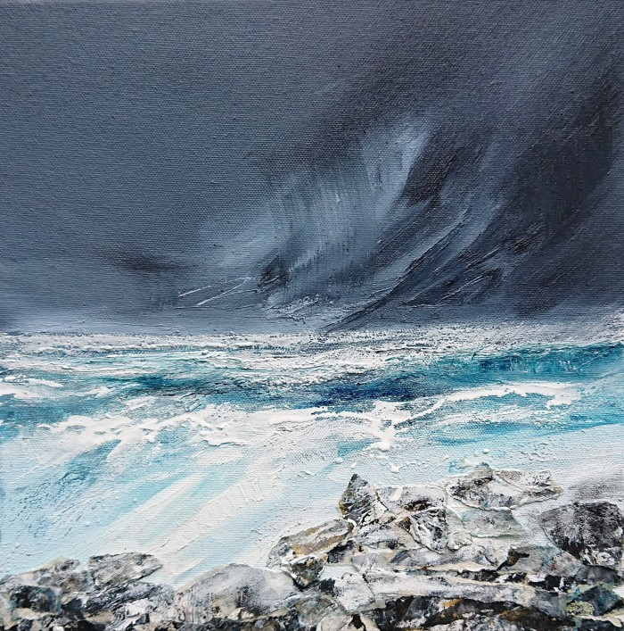 distant storm, oil on canvas 30 x 30 cm
